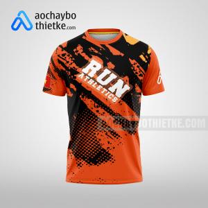 Mẫu áo chạy bộ thiết kế màu cam Athletics running mặt trước R2