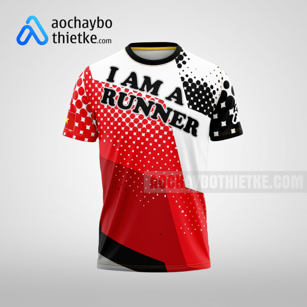 Mẫu áo chạy bộ thiết kế màu đỏ Runner WIN R11 mặt trước