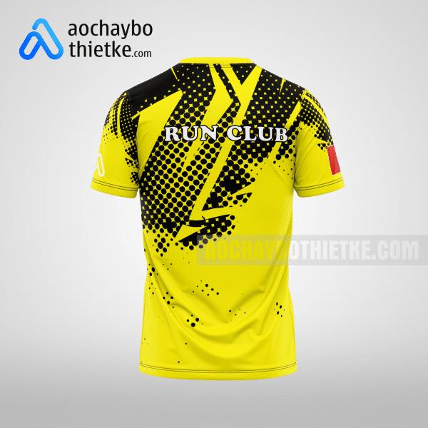 Mẫu áo chạy bộ thiết kế màu vàng Run club mặt sau R5