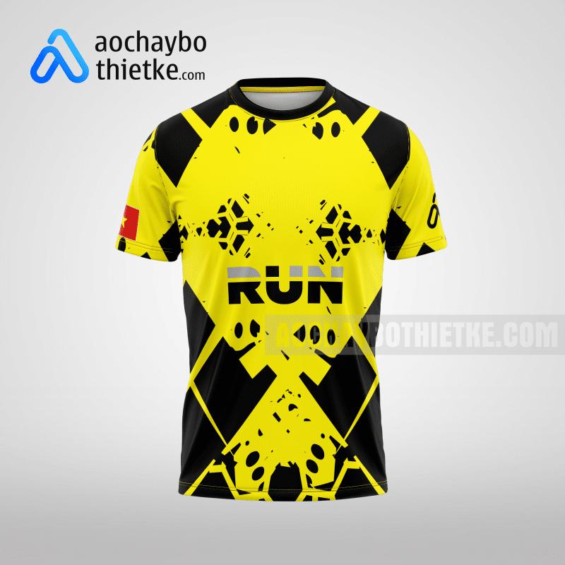 Mẫu áo chạy bộ thiết kế màu vàng Running GoldTime R9 Mặt trước