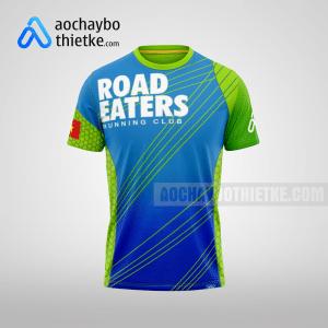 Mẫu áo chạy bộ thiết kế xanh dương Road Eaters mặt trước R1