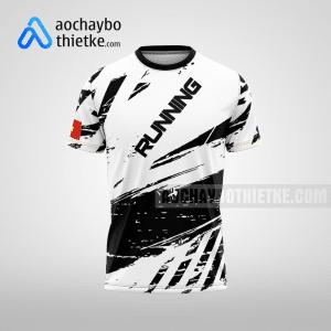 Mẫu áo chạy bộ thiết kế black and white R54 mặt trước