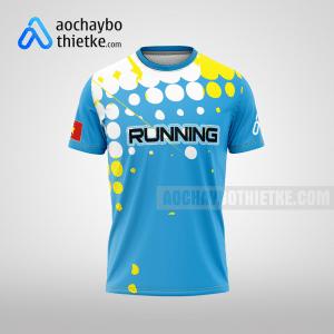 Mẫu áo running chạy giải tự thiết kế Blue Team R31 mặt trước