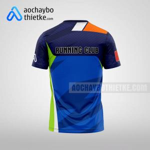 Mẫu áo chạy bộ thiết kế đẹp màu xanh đậm R111 mặt sau