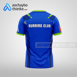 Mẫu áo chạy bộ thiết kế đẹp màu xanh đậm R115 mặt sau
